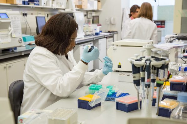Image of scientist in a lab pipetting. Copyright UCL